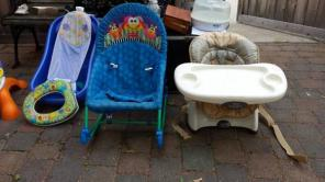 LOTS of BABY STUFF, high chair, bath tub, stroller rocker..