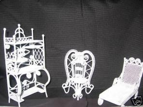 Mini White Metal Patio Doll Furniture - $20